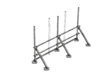 Roof top frames for cell towers and microwave emitters.